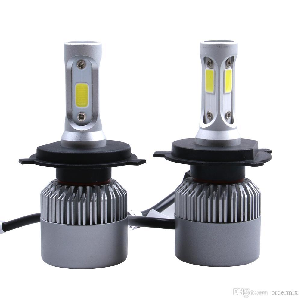 2Pcs LED Headlight 72W/kit 8000LM/kit H4 High Low Beam H7 9005 9006 HB4 COB S2 Auto Car Light All In One Automobile Lamp 6500K