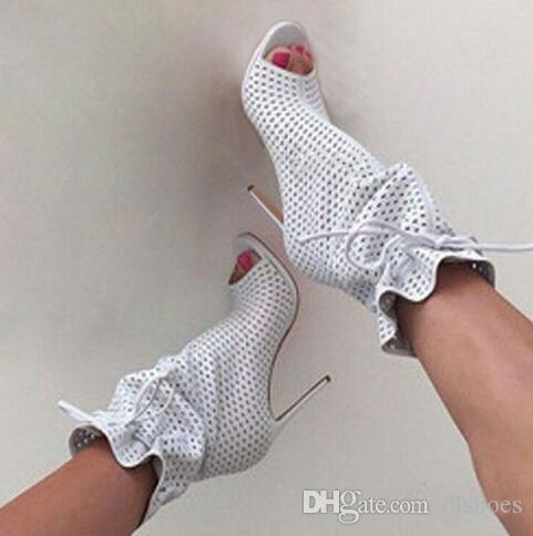 Factory Sexy Small Hole Perforation Med Calf Fish toe Boots Summer Stiletto High Heels Fretwork Bandage Lace up Sandals Botas