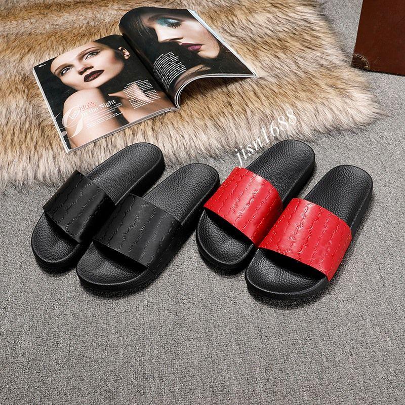 mens and womens fashion signature logo rubber slides sandals summer outdoor beach causal flip flops size euro 35-45