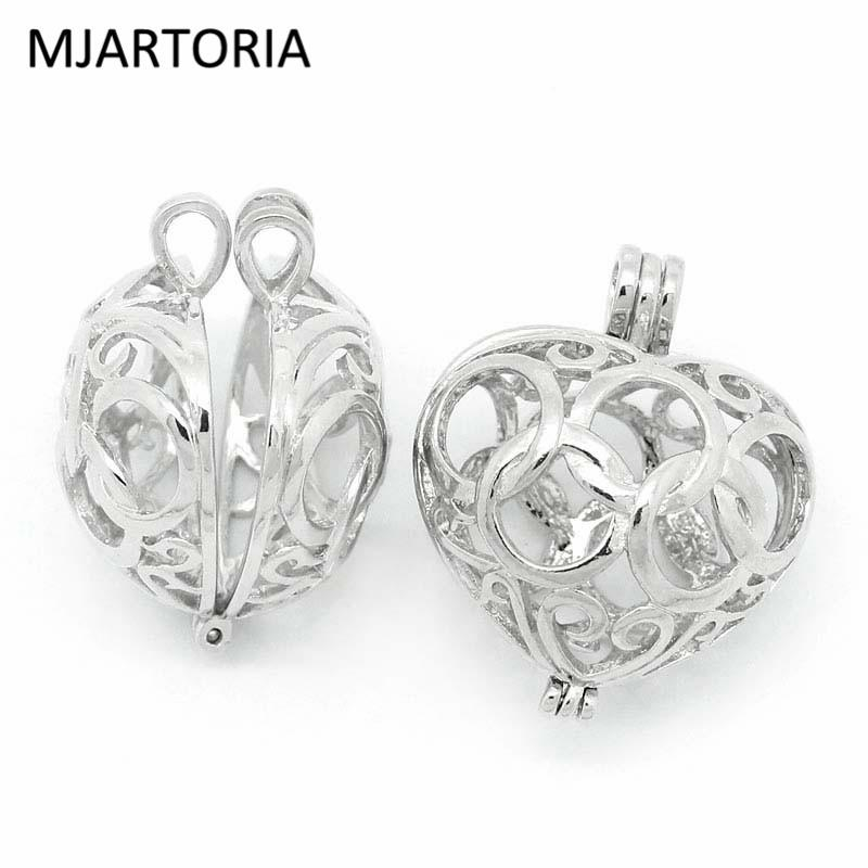MJARTORIA 3PCs Bola Copper Charm Pendants Hollow Heart Bead Cages Locket Silver Fit Music Ball DIY Jewelry Gift For Pregnant