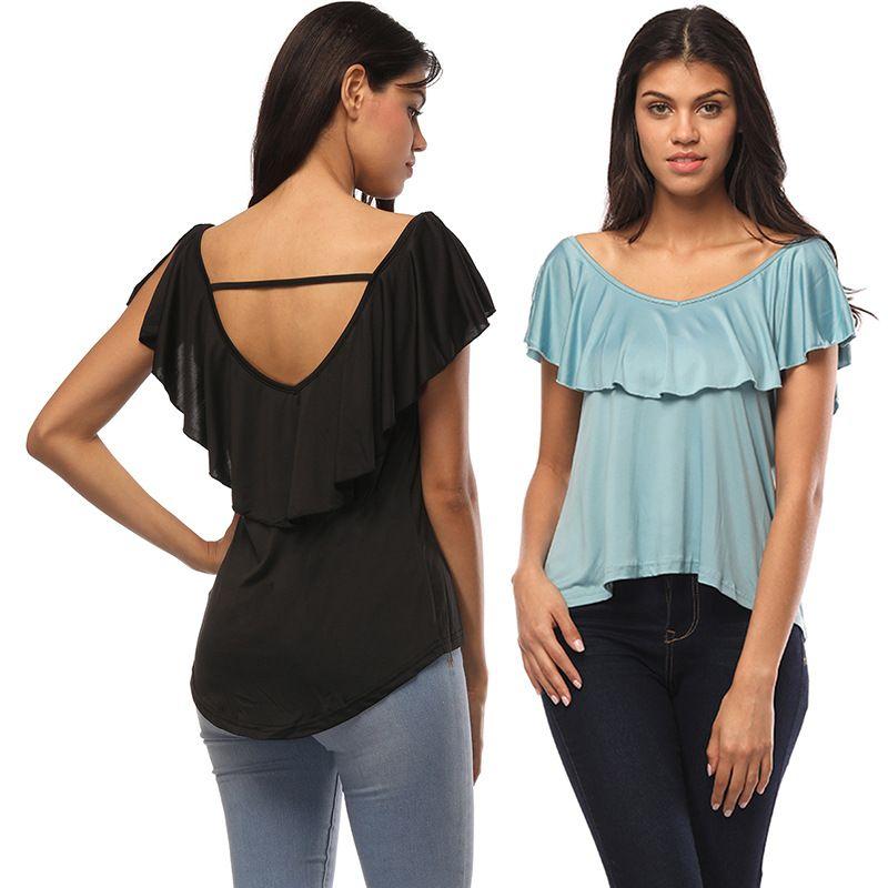 Высокое качество лето женская повседневная с коротким рукавом футболки блузка V-образным вырезом falbala Сексуальная футболка блузка мода Bodycon топ Блузка S M L XL