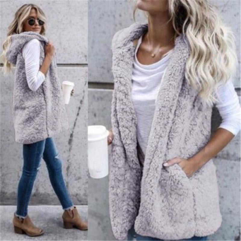 2018 New hiver à capuchon de fourrure Manteaux Gilets femme Casual manches Faux Femmes chaudes Vestes ouverts Maille Vestes Outwears