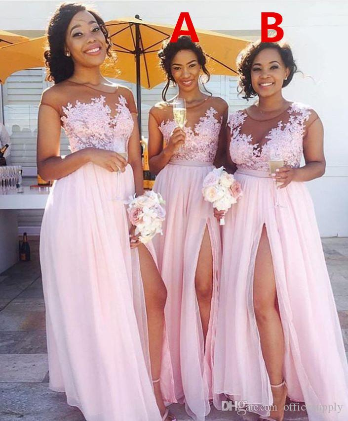 Country Blush Pink Brautjungfernkleider Sexy Sheer Jewel Neck Lace Appliques Trauzeugin Kleid Split Formale Abendkleider Hochzeit Gast Wear