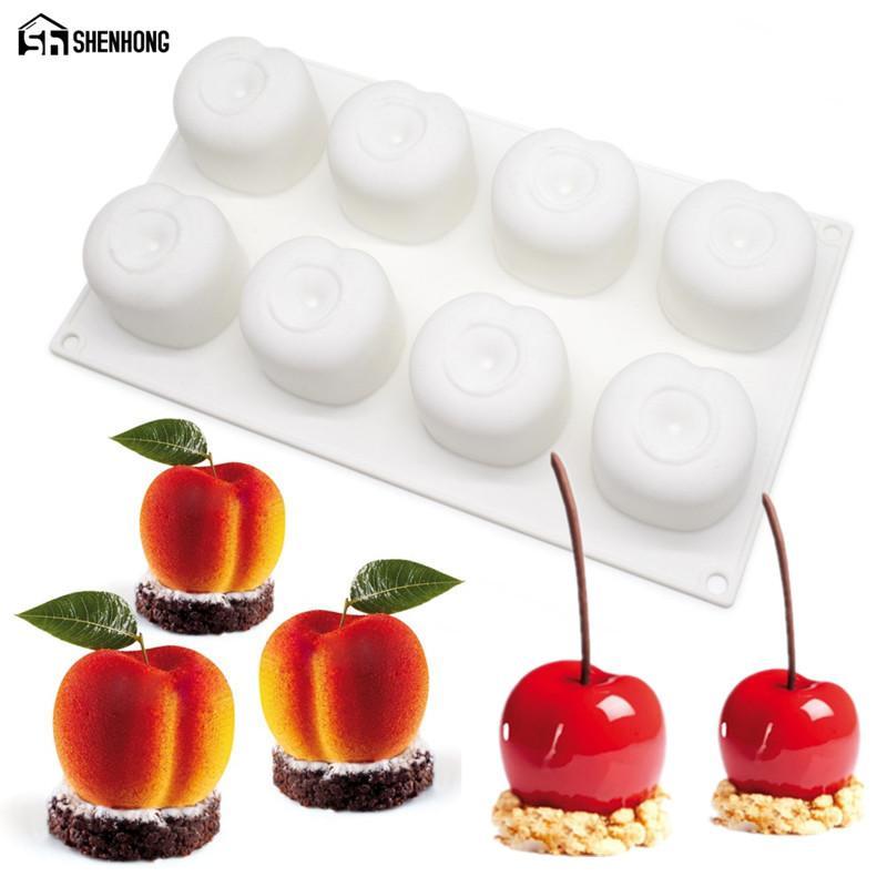 SHENHONG силиконовые Вишневый плесень 8 отверстий персик 3D торт формы мусс для мороженого конфеты кондитерские изделия для выпечки десерт искусство Пан