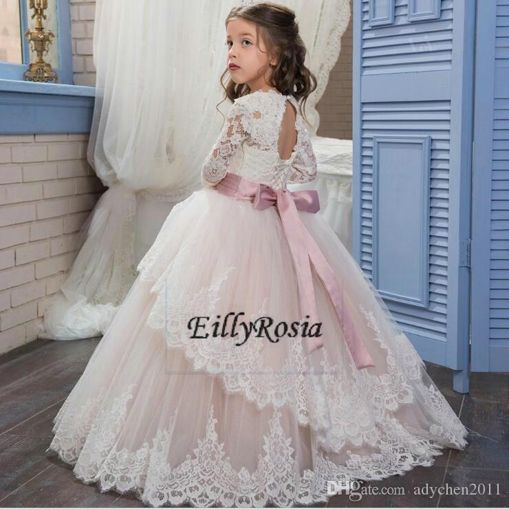 Long Sleeve Flower Girls Dresses Princess A Line Lace up Back Corset Ribbons Sashes Appliques Floor Length Girls Prom Dresses for Weddings