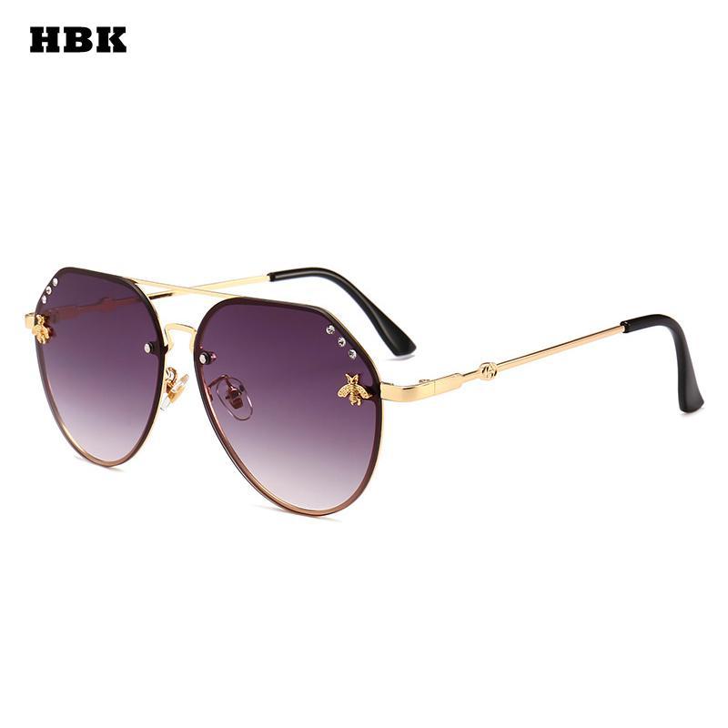 HBK الطيار المتضخم الماس النحل أزياء النظارات الشمسية UV400 المحيط عدسة البلاستيك العصرية الوردي الأرجواني الأسود المتأنق نظارات الشمس دي
