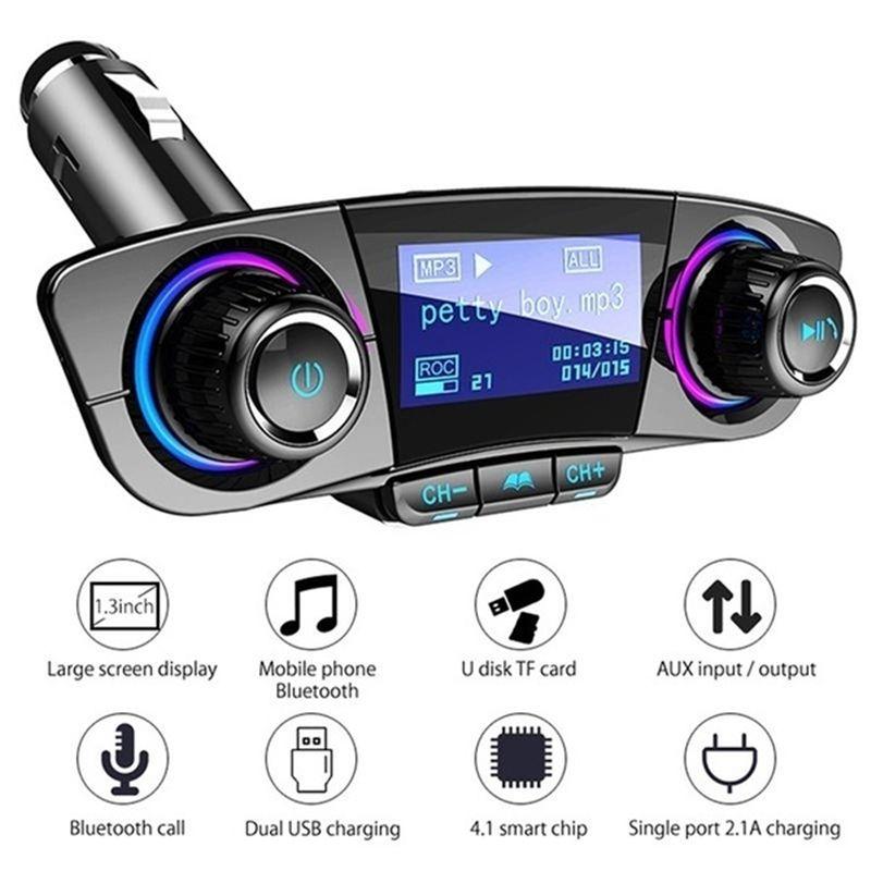BT06 Trasmettitore FM 2.1A veloce Caricabatteria da auto Aux modulatore vivavoce Bluetooth Car Kit Lettore MP3 audio con Smart Charge Dual USB