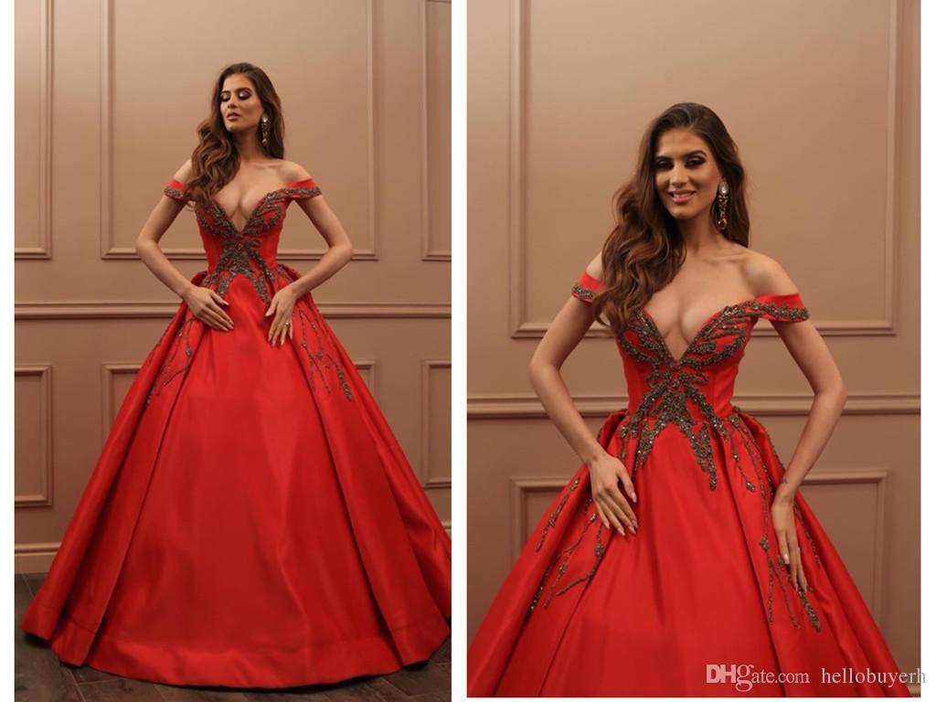 Ballkleid Red Sexy Long Prom Kleider Günstige Satin V-Ausschnitt Abendkleid Vestidos De Fiesta Party Kleider Mit Perlen