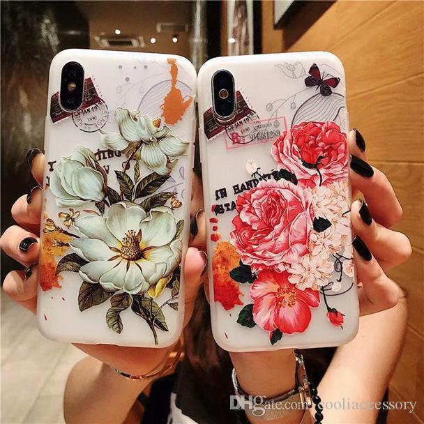 For Iphone 11 Pro Max 2019 X XS MAX 6.5'' XR 6.1'' 8 7 7plus 6 PLUS 6S 3D Matte Relief Flower Soft TPU Case Floral Frosted Skin Cover 100pcs