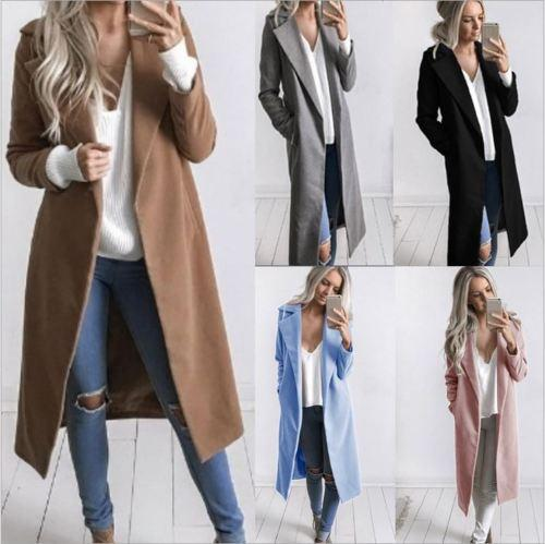 Womens Winter Lapel Slim Coat Trench Jacket Full Length Parka Overcoat Outwear