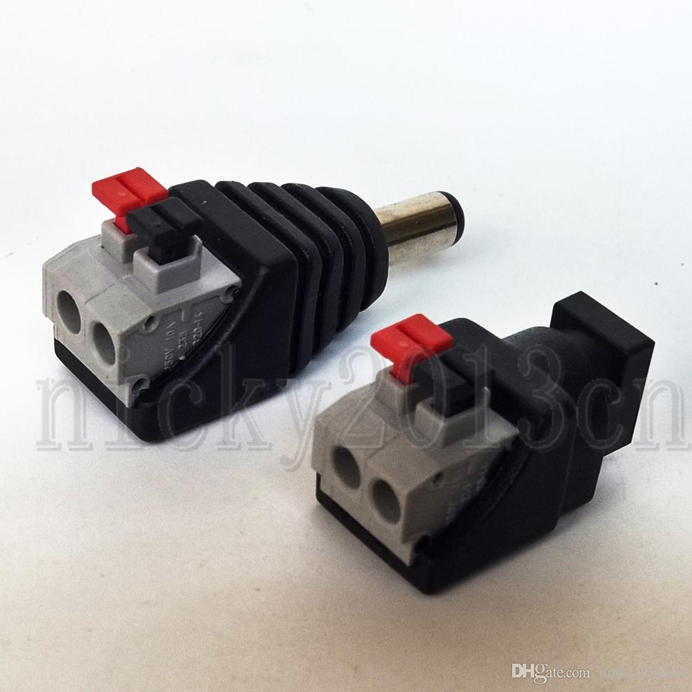 DC-Anschluss Männlich Weiblich Jack-Stecker-Adapter 2,1mm 5,5mm-Taste für LED-Streifen-Licht