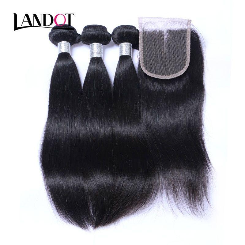 3 demetleri ile 8a lace closure brezilyalı düz bakire saç örgüleri işlenmemiş perulu malezya Hint kamboçyalı insan saçı ve kapanışları