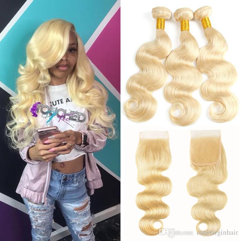 Brazilian Body Wave Human Hair Weave 3 Bundles 613 Blonde Human Hair Bundles With 4x4 Free Part Lace Closure Honey Platinum Virgin Hair