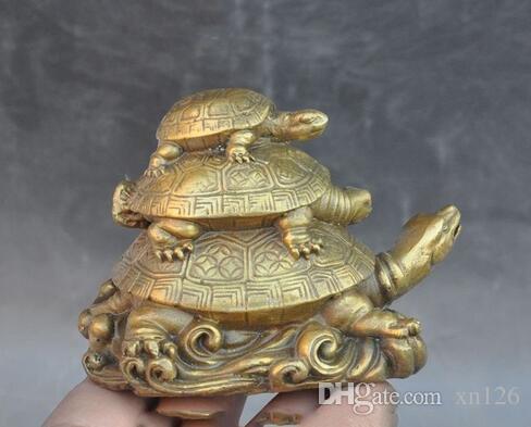 Китай Фэн-Шуй латуни долголетия животных 3 черепаха Черепаха благоприятный повезло статуя