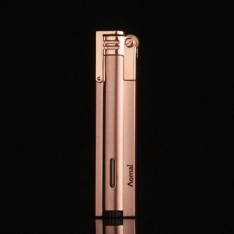 새로운 도착 정품 아오 마이 컴팩트 제트 부탄 라이터 횃불 플립 캡 스트레이트 바 그라인딩 휠 라이터