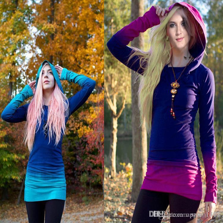 Kızlar Degrade Hoodies T-Shirt Uzun Kollu Ceketler Kadınlar Katı Casual Kaban Sonbahar Bluzlar Tişörtü Kazak Dış Giyim Jumper Giysileri