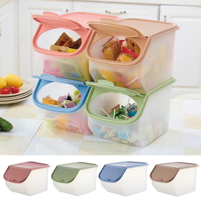 2019 Dried Food Storage Sealed Box With Measuring Cup Plastic Kitchen  Cereal Flour Rice Bin Bean Grain Container Organizer Ho C18111501 From ...