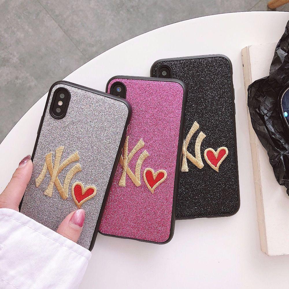 Heiße verkaufende Tide-Karte NY Stickerei-Glitter-Abdeckungs-Fall für iPhone 6 6s 7 8 Plus X Luxuxglänzendes rotes Herz-Blinken schützen rückseitige Abdeckung