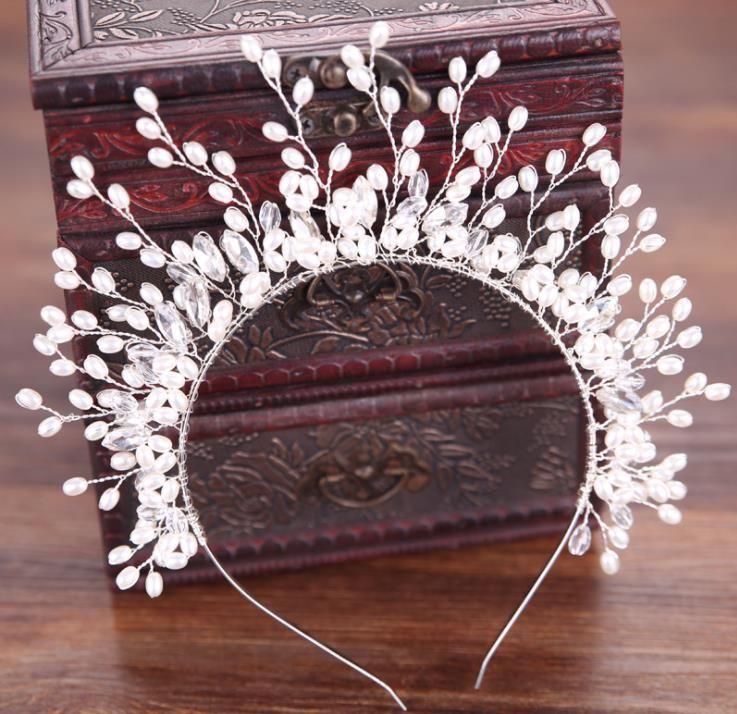 Pérola broca de diamante coroa handmade cabeça vestido de casamento vestido de acessórios acessórios para o cabelo banquete