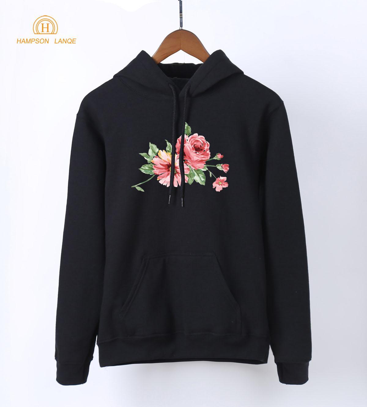 Çin Mürekkep Çiçekler Moda Bayan Hoodies 2018 Bahar Sonbahar Kazaklar Sıcak Polar Kawaii Tişörtü Kpop Harajuku Kapşonlu