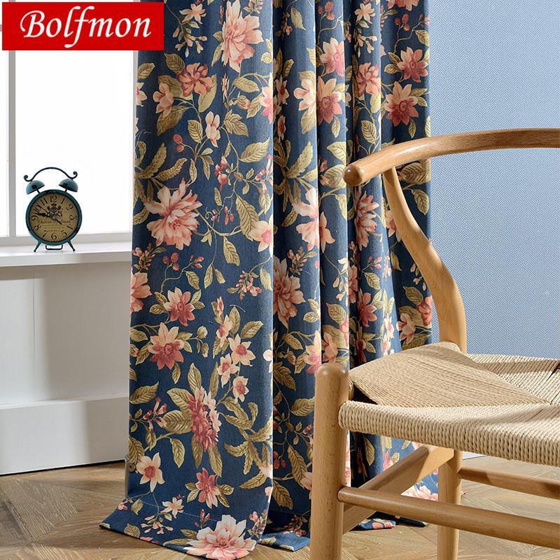 목화 폴리 에스터 에코 하프 쉐이딩 아메리카 인쇄 된 네이비 커튼 거실에 대한 침실 꽃 클래식 꽃 창 커튼