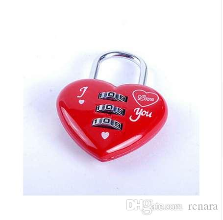 JETTING Kawaii Rojo / Rosa En Forma de Corazón Mini Canjeable de 3 Dígitos Maleta de Equipaje Candado Cerradura Codificada Cerradura de Equipaje