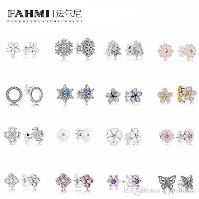Fahmi 100٪ 925 فضة ندفة الثلج أقراط كريستال الأزياء سحر الخرزة مجوهرات للنساء هدية شحن مجاني