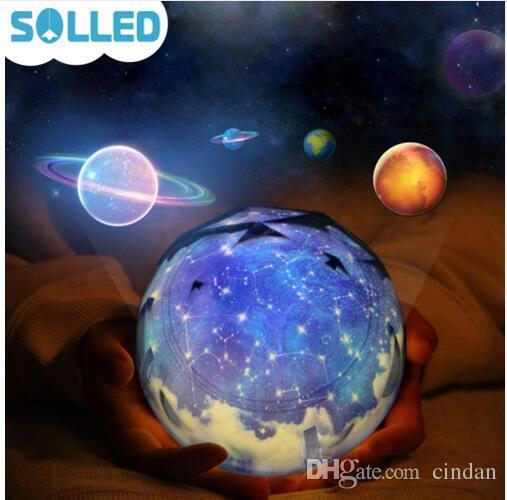 별이 빛나는 하늘 매직 스타 달 행성 회전 프로젝터 램프 밤 빛 우주 우주 Luminaria 아기 빛 새해 선물