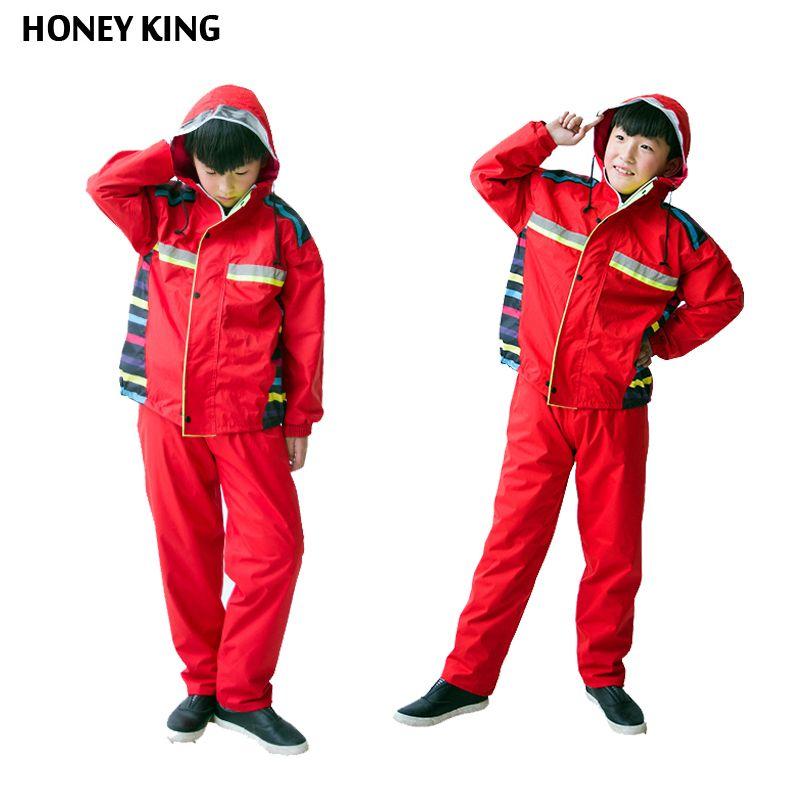 HONEYKING 2PCS Child Waterproof Boys Girls Clothing Sets Double Layer Boys Girls Jackets+Rain Pants Kids Hooded Raincoat Suit