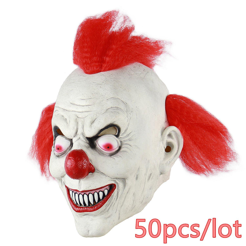 50 unids / lote Scary Clown Mask Masque Payday Party Halloween Máscara Para Fiesta Mascara Carnaval de Silicona Máscaras de Los Hombres Mascarada