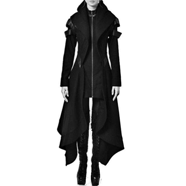 Trench autunno gotico Cappotti donna moda vintage Sottile cintura tinta unita Ragazze Inverno Cappotti gotici neri neri caldi