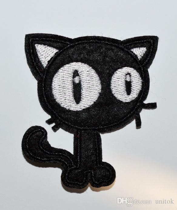 HOT SALE! Punk Black Cat Goth Bike Biker Embroidered Applique Iron On patch
