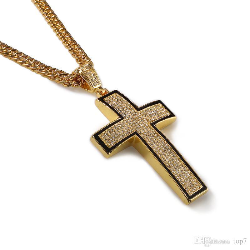 """2018 Большой Bling крест 3D хип-хоп оттаявшим религиозный кулон Франко цепи 35,4 """" золото посеребренные для мужчин женщин ювелирные изделия мода подарок"""