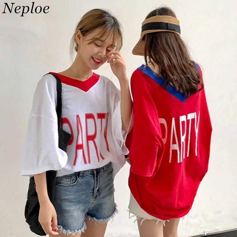 Neploe Summer Punk Camisetas BF Leer Imprimir Camiseta 2018 Half Sleeve con cuello en V Top Tee Mujeres Loose Medium-long Camisetas 35915