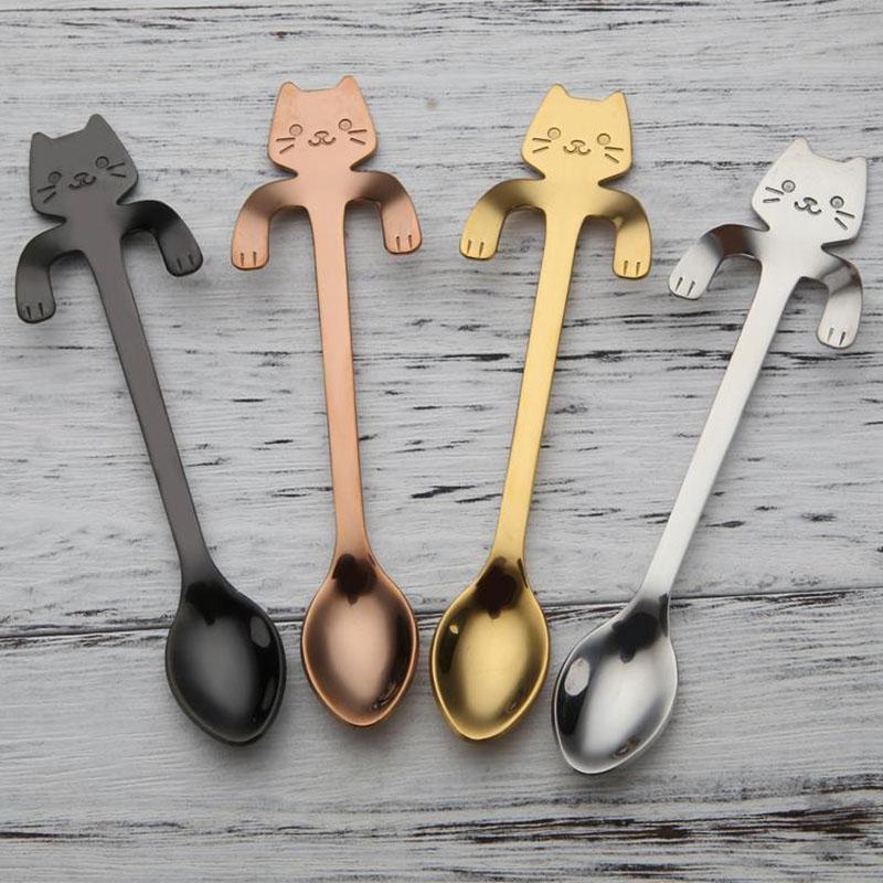 Sevimli Kedi Çay Kaşığı Paslanmaz Çelik Karikatür Kedi kaşık Yaratıcı Dondurma Tatlı Uzun Kolu CoffeeTea Kaşık Sofra Renkler 4 adet / takım