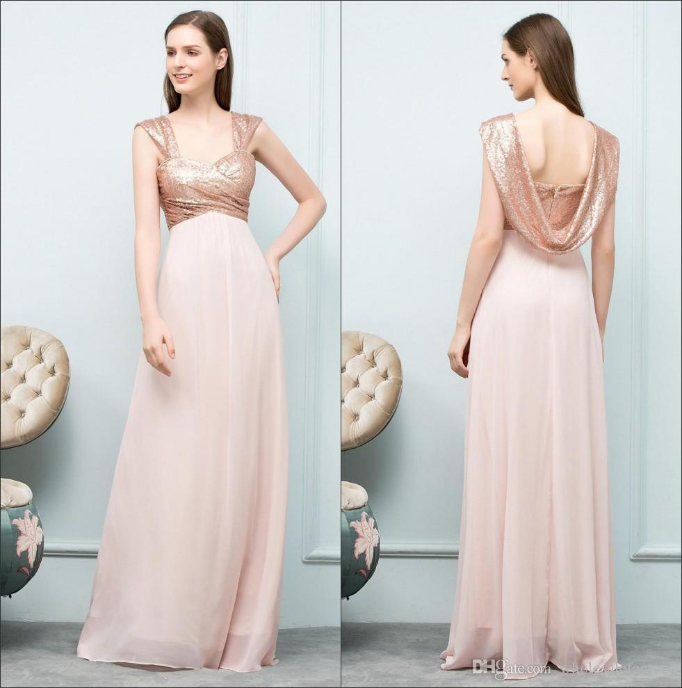 Compre Imagem Real Rose Gold Lantejoulas Longo Da Dama De Honra Vestidos Ruched Chiffon Backless Wedding Guest Party Maid Of Honor Vestidos De Noite