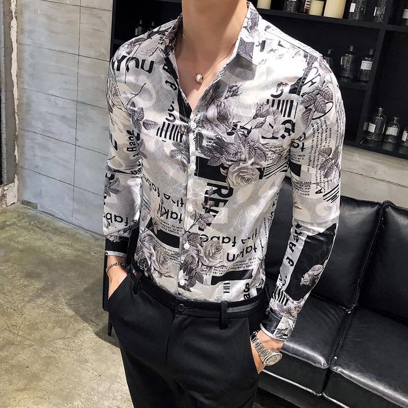 2018 automne nouveaux hommes chemise à manches longues mince esprit social guy mode impression cheveux styliste chemise mâle