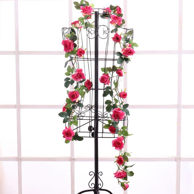 Flores artificiais de parede de Seda Subiu Flores Videira Flores Artificiais Home decor Decoração de Casamento Artificial falsa Flor pendurada grinalda De Garland