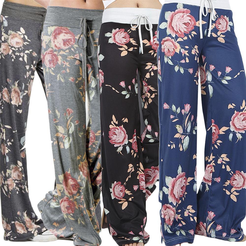Causal Mulheres Outono Flor Impressão Calças de Yoga Com Cordão Perna Larga Calças Soltas Calças Retas Longo Feminino Plus Size Calças