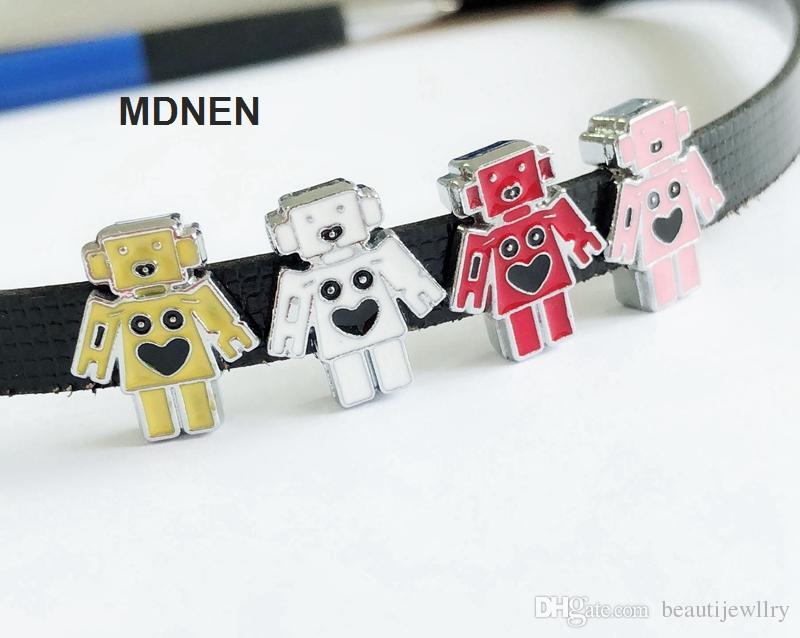 20pcs DIY accessory zinc alloy 8mm Robot Slide Charm Bead DIY 8MM Dog Cat Collar Wristband