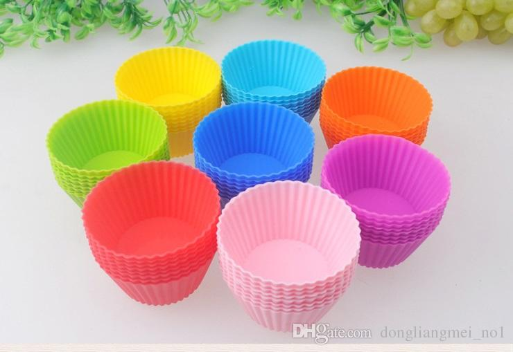 7cm Round Shaped Silicone Cake Baking Molds Muffin Cups Cake Mould Cupcake Bakeware Maker Mold Tray Jelly Baking Mold Cup 8 color wn378