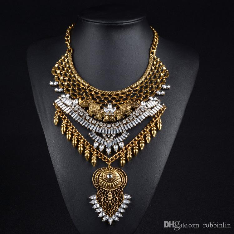 3 Colors Fashion Bib Bohemian Statement Coin Necklace Punk Ethnic style Jewelry for Women Novelty Necklace