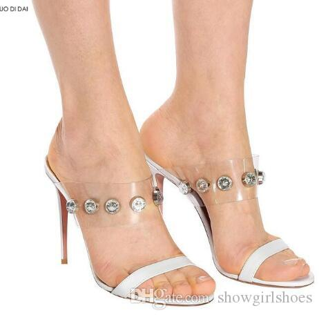 2018 nuove donne in PVC tacchi alti scarpe da festa sandali gladiatore estate scarpe da sposa diamante tacchi alti sandali di cristallo punta aperta
