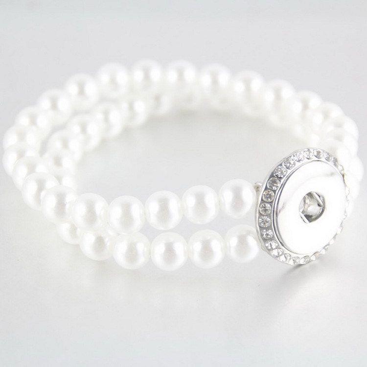 Camada 18 milímetros Noosa pérola Bead Bracelet Duplo botões de pressão pulseiras Atacado Presente de Natal para Mulheres Lady meninas jóias presentes