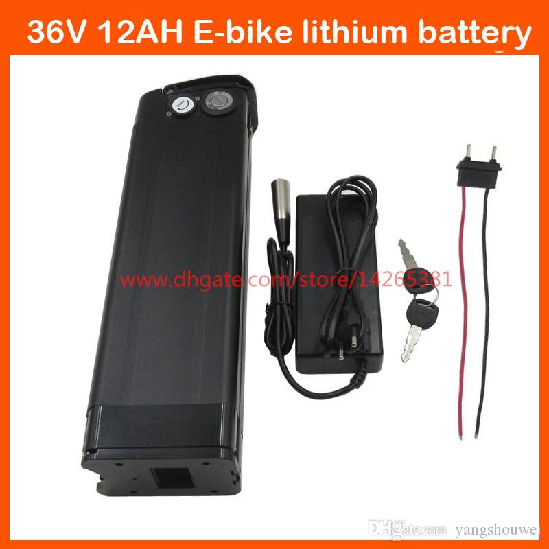 Scooter battery 500W Electric Bike battery 36V 12AH Lithium battery pack with USB Port 2A charger and 15A BMS Bottom Discharge