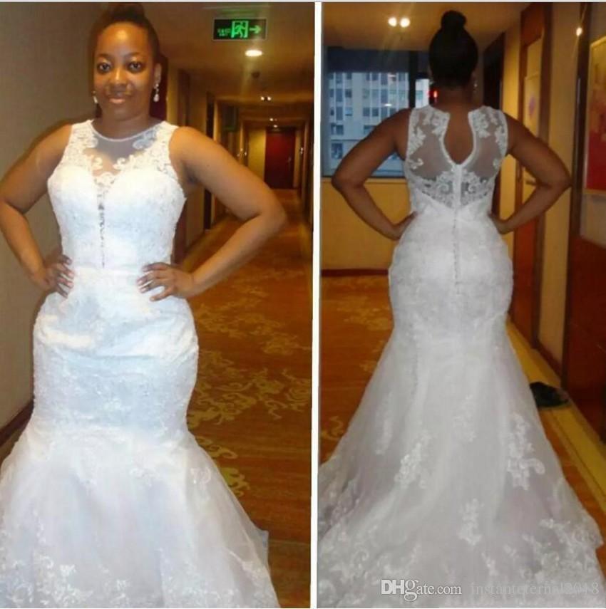 Африканский Плюс Размер Свадебные Платья Scoop Шеи Кружева Аппликации Рукавов Русалка Свадебное Платье Длинные Свадебные Платья