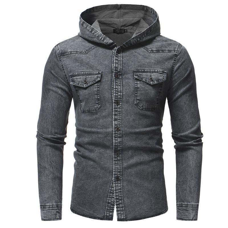Мужские рубашки Мужские джинсы рубашка с капюшоном Pocekt серый социальная рубашка однобортный Blusa De Frio Masculina атласная NZ672
