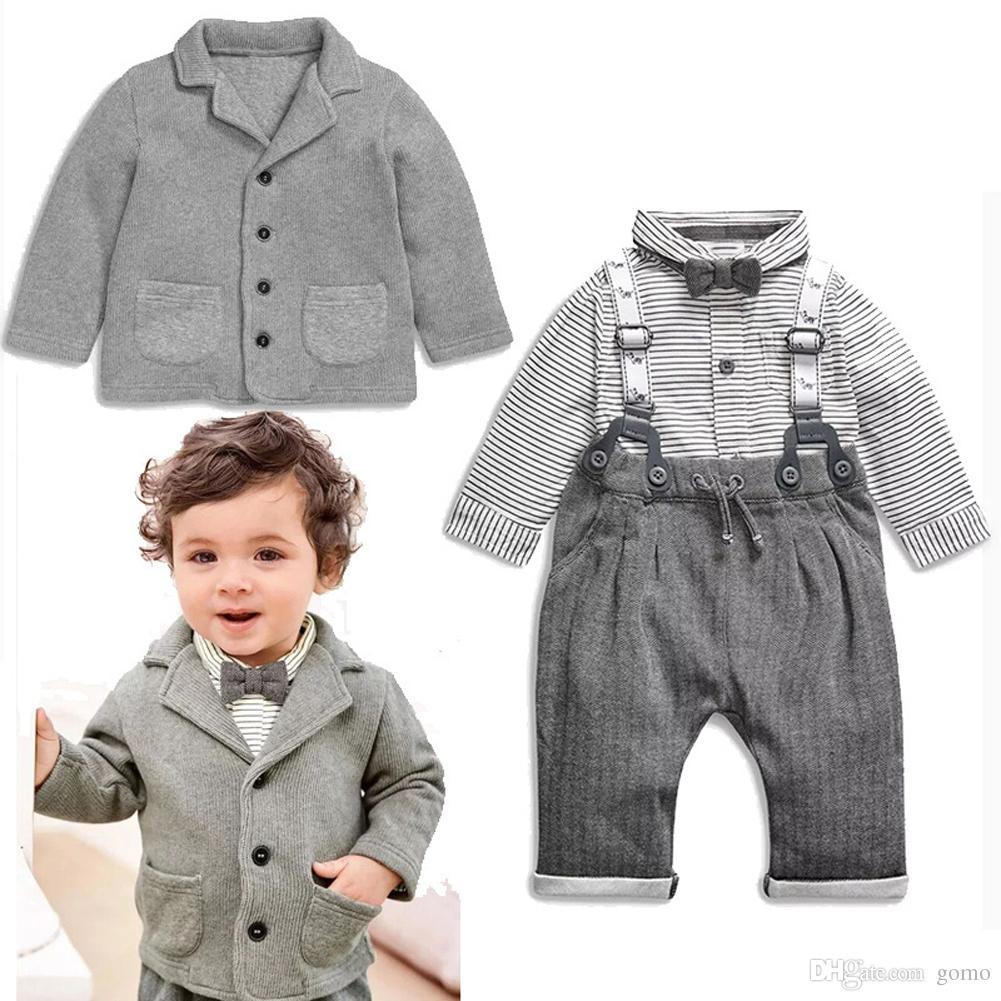 2pcs Toddler Kids Clothing Set Baby Boys Signori Bowknot Shirt + Suspender Pants Outfit Ragazzi vestiti di moda