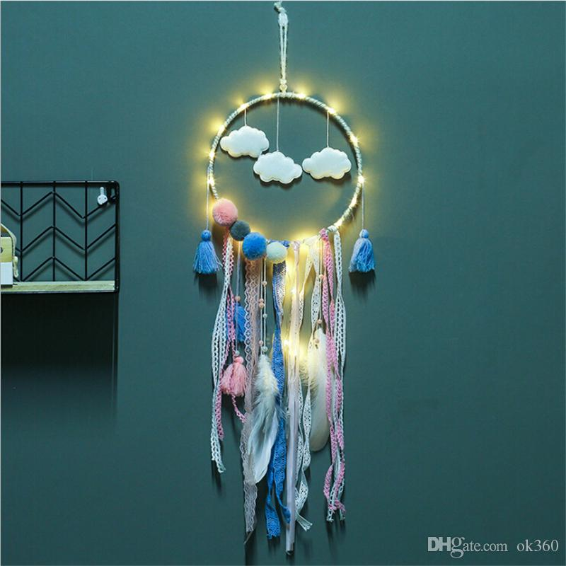 Dreamcatcher With Light Big Lace Dream Catcher with Clouds & Pompom Home Wall Hanging Decor Pendant for Kid's Bedroom