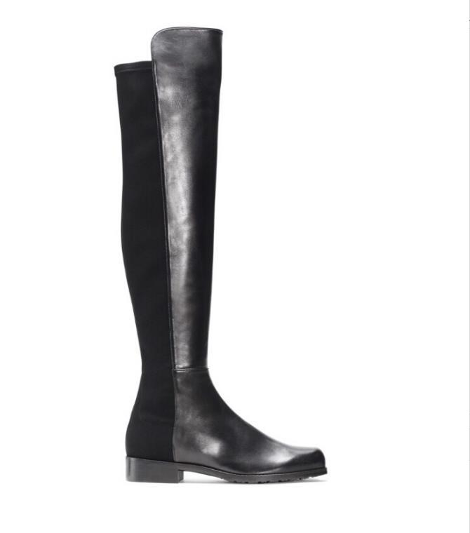 Paris Klasik 5050 Elastik Çizmeler 2.5 cm topuk kadın Sonbahar ve Kış Ince Deri Ile Yeni Deri Ince Ayakkabı Yüksek uzun Çizmeler Kızlar